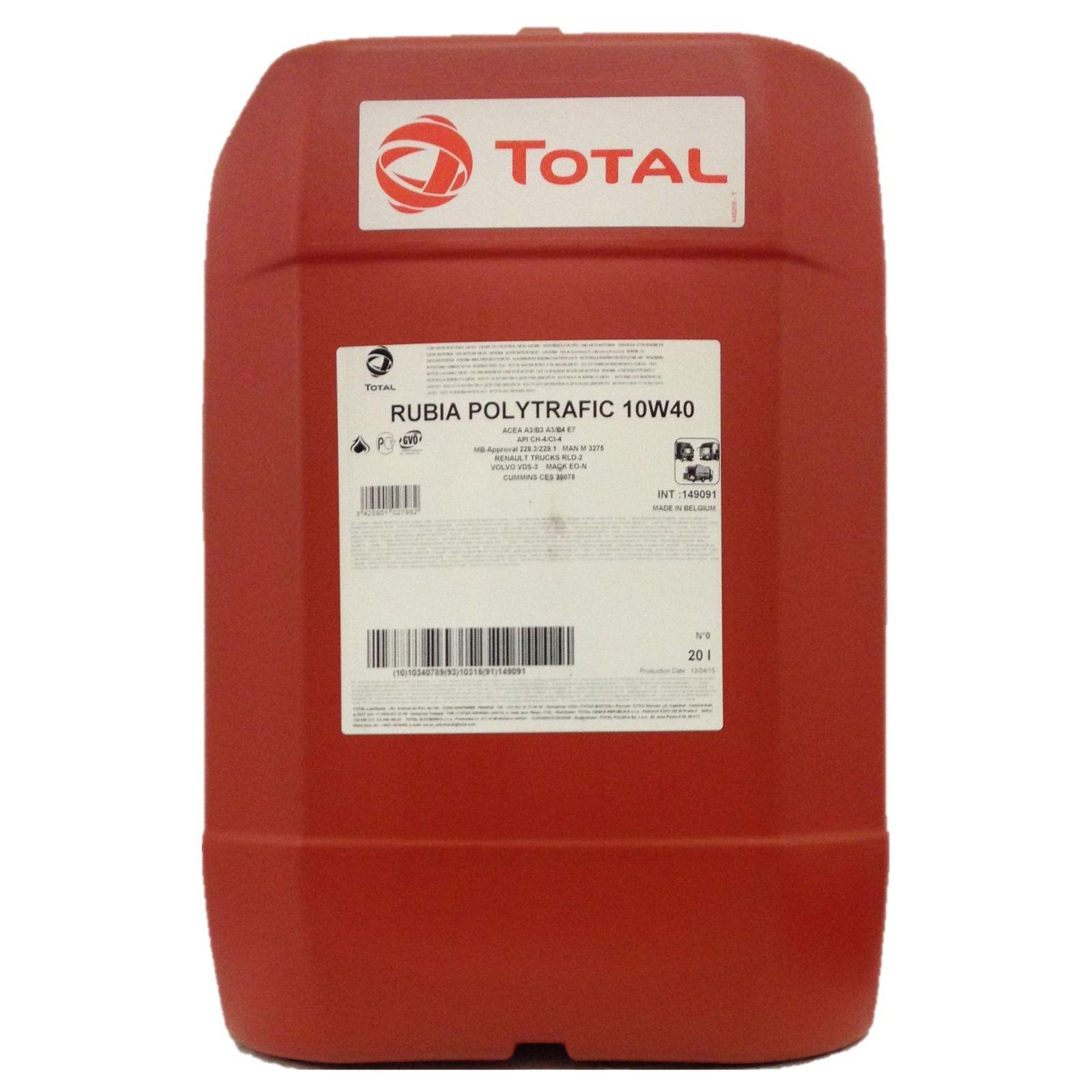 20 Liter Total Rubia Polytrafic 10W-40 teilsynthetisches Leichtlaufmotorenöl