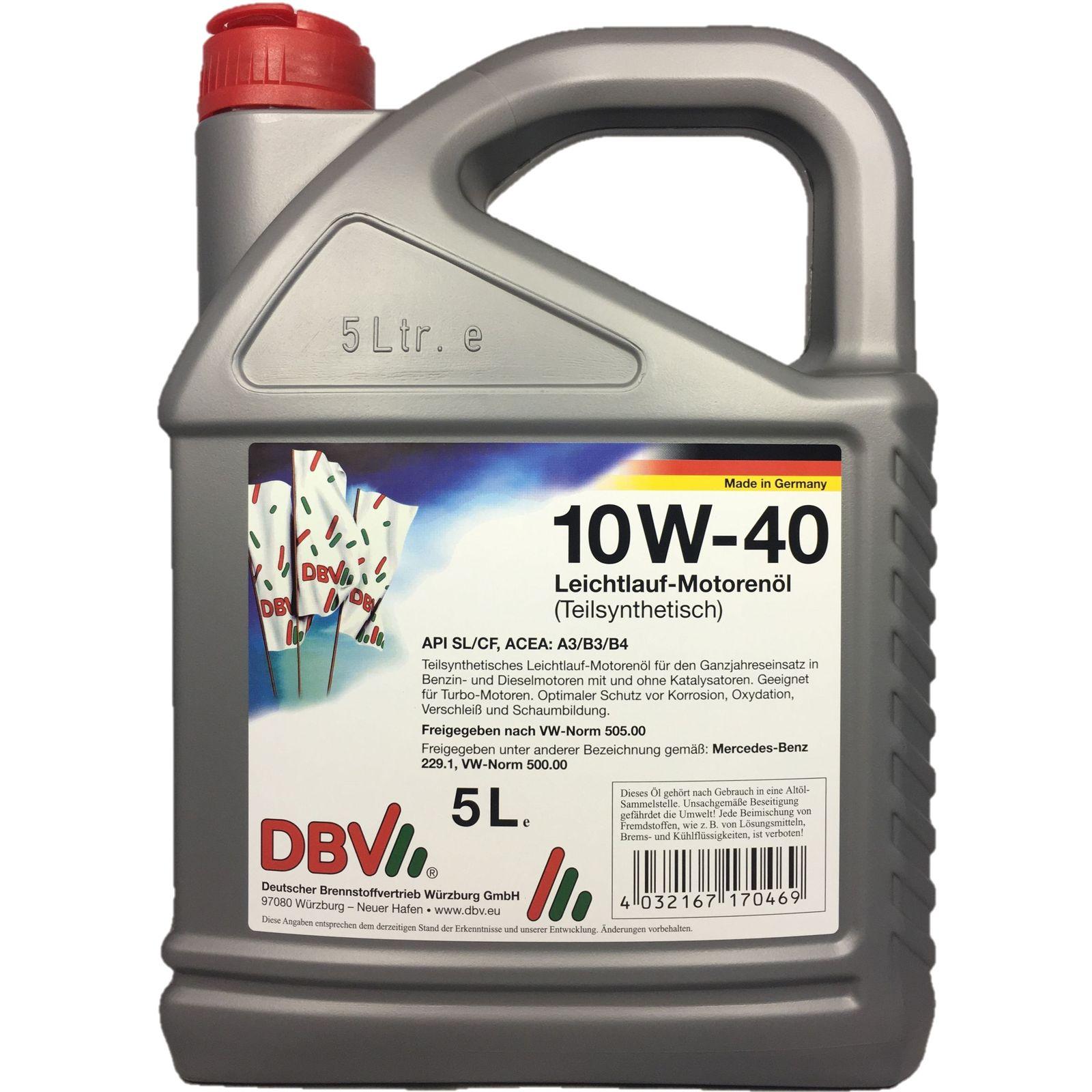 5 Liter DBV 10W-40 Leichtlauf-Motorenöl