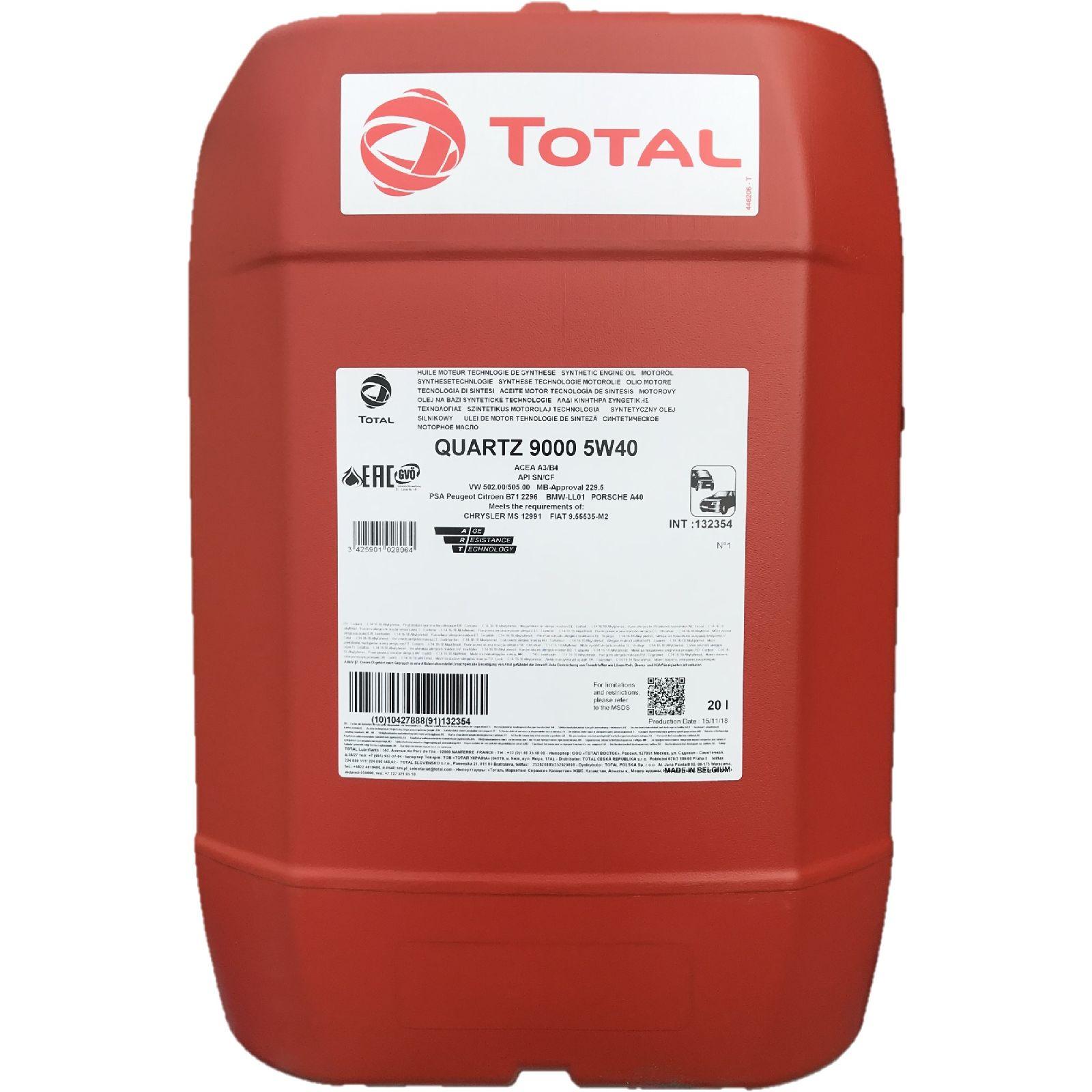 20 Liter TOTAL Quartz 9000 5W-40 Motoröl