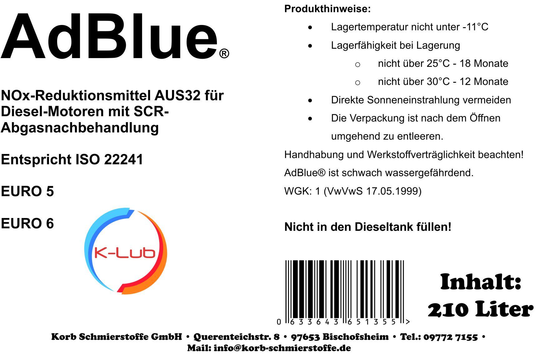 210 Liter K-Lub AdBlue® wässrige Lösung reinen synthetischen Harnstoff ISO 22241