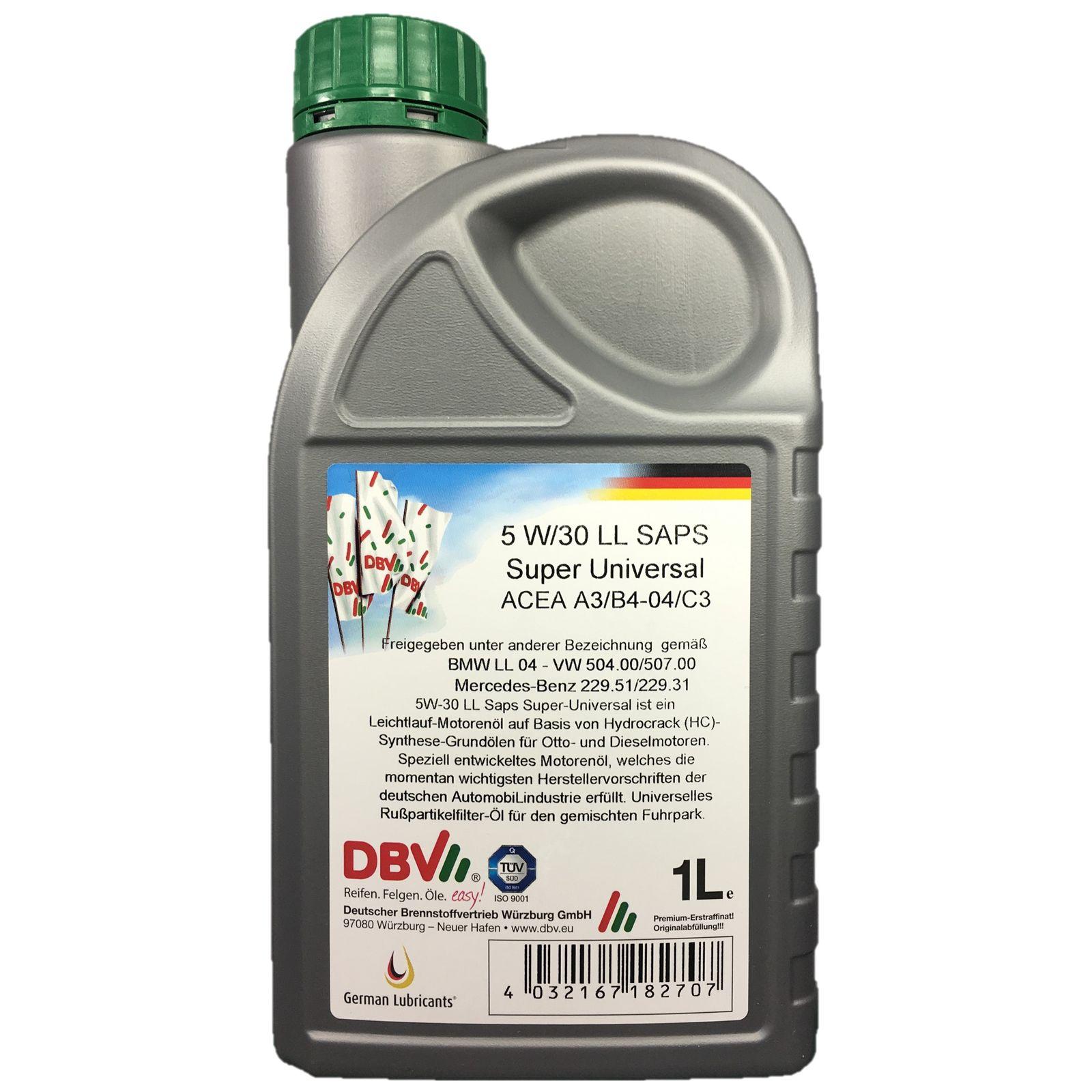 1 Liter DBV Motorenöl 5W-30 LL SAPS Super Universal VW-Longlife 3