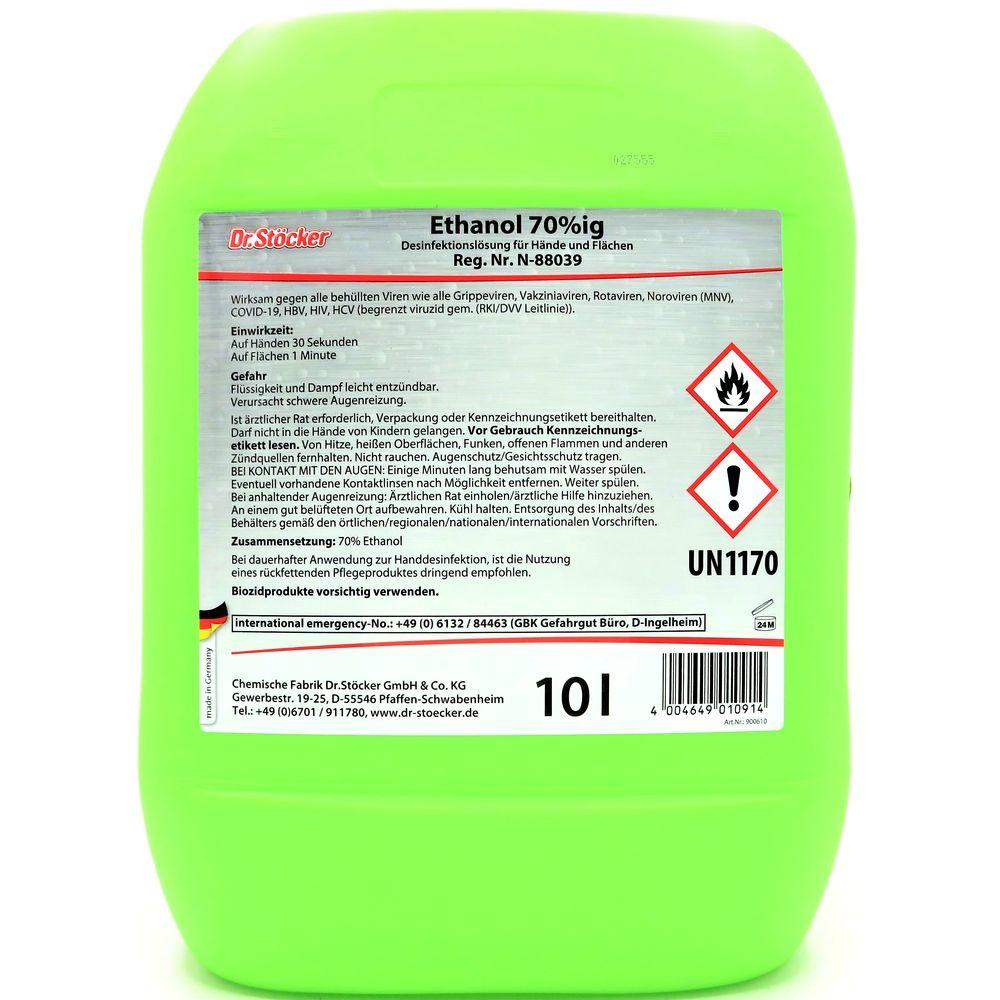 10 Liter Dr. Stöcker Ethanol 70%ig Desinfektionslösung für Hände und Flächen