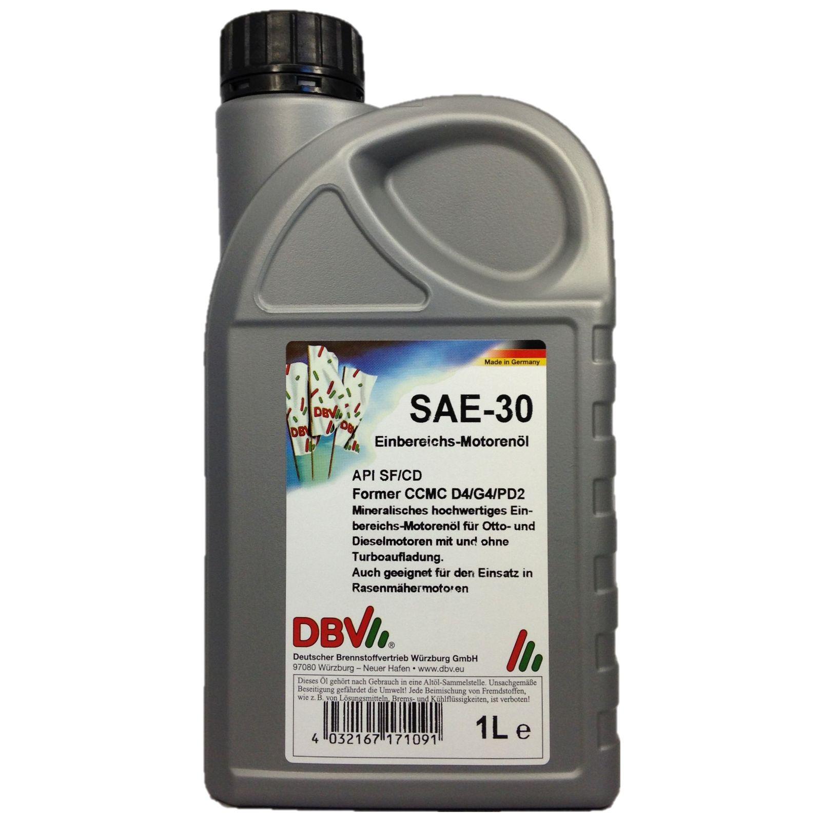 1 Liter DBV - Einbereichs-Motorenöl SAE-30