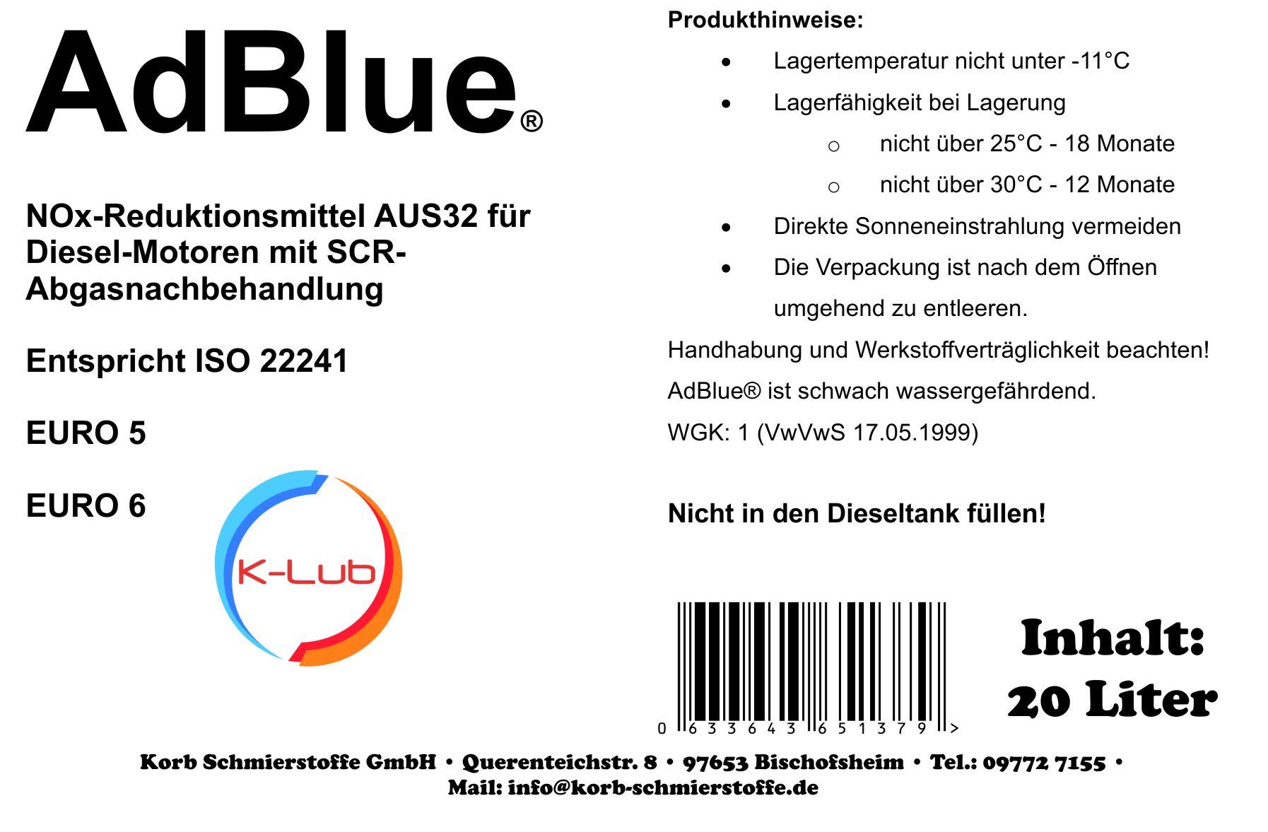 20 Liter K-Lub AdBlue® wässrige Lösung reinen synthetischen Harnstoff ISO 22241