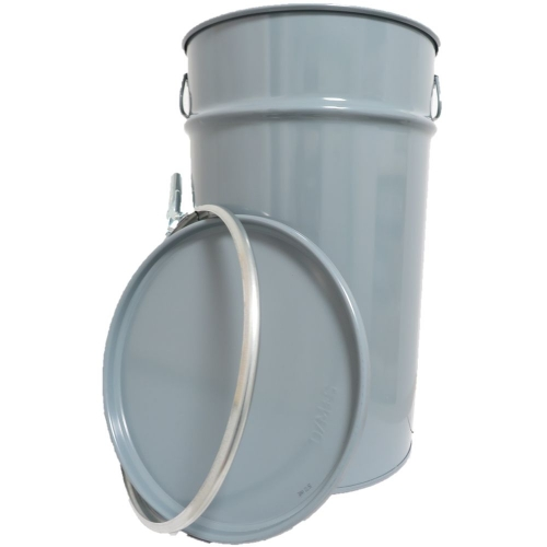 60 Liter Hobbock / Deckelfass Stahlfass Fass Mülleimer Eimer NEU Grau