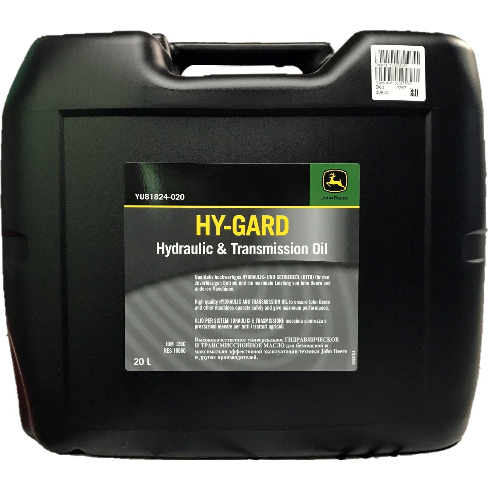 20 Liter John Deere Hy-Gard Getriebe- und Hydrauliköl (UTTO)