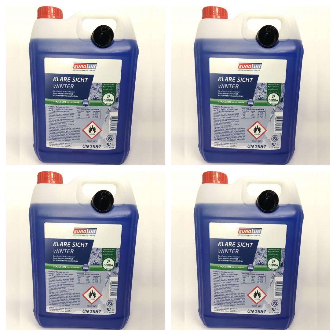 4 x 5 Liter Kanister EUROLUB Klare Sicht Winter Konzentrat bis -60° mit Ausgießer