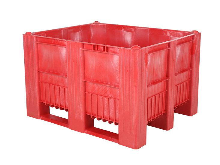 Palettenbox CB3 rot mit Deckel aus Kunststoff mit 3 Kufen 1200 x 1000 x 63 mm